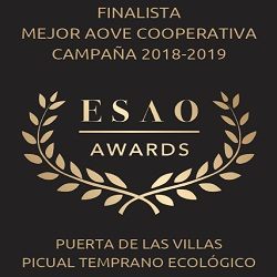 2019. Finalist in best Spanish EVOO produced by cooperative. ESAO Awards. Early Harvest Organic EVOO.