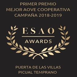 2019. 1st prize Best EVOO from Andalusia elaborated by cooperative. ESAO Awards.