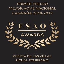 2019. 1st prize Best Spanish EVOO produced by cooperative. ESAO Awards.